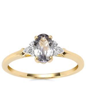 Bi Colour Tanzanite Ring with Diamond in 10K Gold 0.78ct