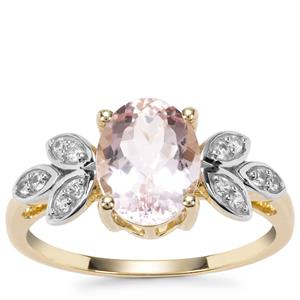 Nigerian Morganite Ring with White Zircon in 9K Gold 1.84cts