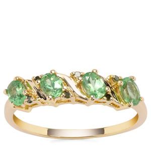 Tsavorite Garnet Ring with Green Diamond in 9K Gold 0.82cts