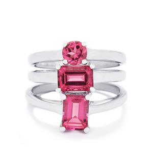 2.93ct Mystic Pink Topaz Sterling Silver Set of 3 Stacker Rings