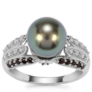 Tahitian Cultured Pearl Ring with Black Spinel in Sterling Silver (10 x 9mm )