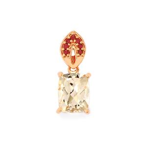 Mutala Morganite Pendant with Malagasy Ruby in 10K Rose Gold 2.75cts (F)
