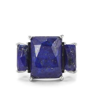 Sar-i-Sang Lapis Lazuli Ring in Platinum Plated Sterling Silver 14.33cts