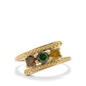 Multi-Colour Diamond Ring in 10K Gold 0.80ct