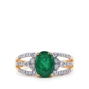 Minas Gerais Emerald & Diamond 18K Gold Tomas Rae Ring MTGW 1.74cts