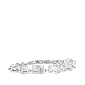 12.31ct White Topaz Sterling Silver Asscher Cut Bracelet
