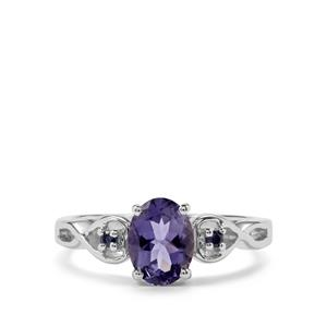 Bengal Iolite & Thai Sapphire Sterling Silver Ring ATGW 0.97cts