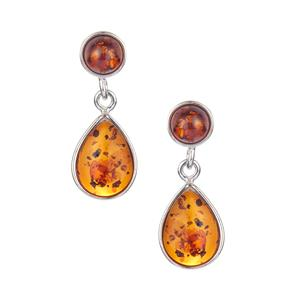 Baltic Cognac  Amber Earrings  in Sterling Silver