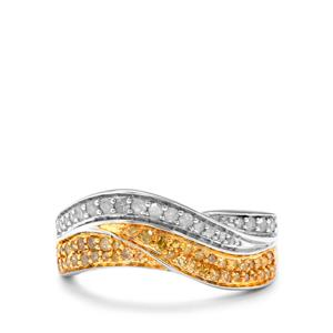 1/2ct Yellow & White Diamond Sterling Silver Ring