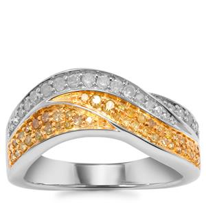 Yellow Diamond Ring with White Diamond in Sterling Silver 0.53ct