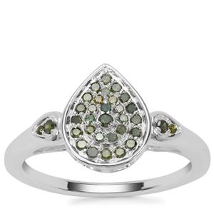 Green Diamond Ring  in Sterling Silver 0.25ct