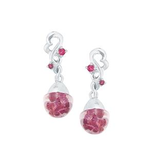 Rhodolite Garnet Bulb Earrings with Pink Tourmaline in Sterling Silver 0.77cts