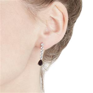 Black Spinel & White Topaz Sterling Silver Earrings ATGW 3.20cts