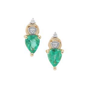 Zambian Emerald Earrings with Diamond in 9K Gold 0.60ct