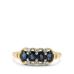 Natural Nigerian Blue Sapphire & White Zircon 9K Gold Ring ATGW 1.21cts