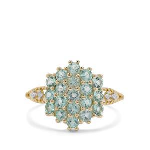 Aquaiba Beryl & Diamond 9K Gold Ring ATGW 1.10cts