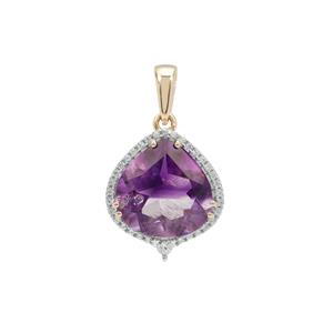 Boudi Hourglass Amethyst Pendant with White Zircon in 9K Gold 5.45cts