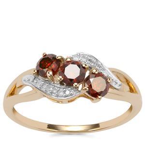 Cognac Diamond Ring with White Diamond in 10K Gold 0.76ct
