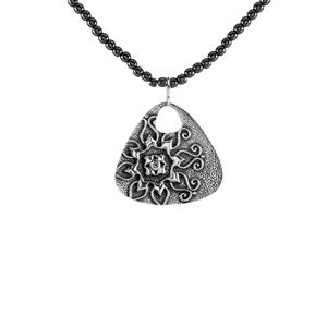 White Topaz Pendant with Haematite in Sterling Silver 45.08cts