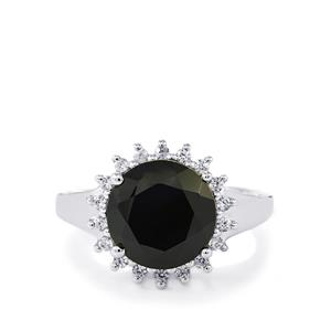 Black Spinel Ring with White Zircon in Sterling Silver 6.70cts