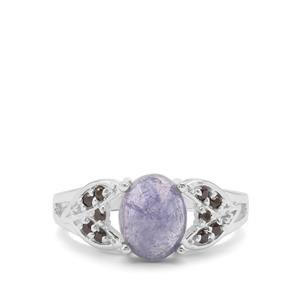 Rose Cut Tanzanite &  Black Spinel Sterling Silver Ring ATGW 2.55cts