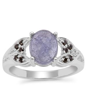 Rose Cut Tanzanite Ring with Black Spinel in Sterling Silver 2.55cts
