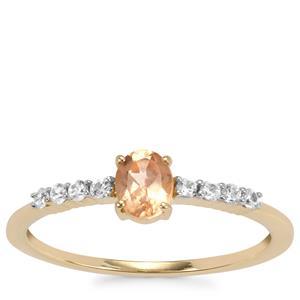 Ceylon Imperial Garnet Ring with White Zircon in 9K Gold 0.56cts