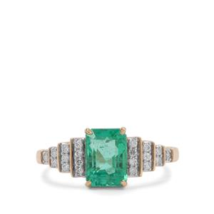 Ethiopian Emerald Ring with Diamond in 18K Gold 2.37cts