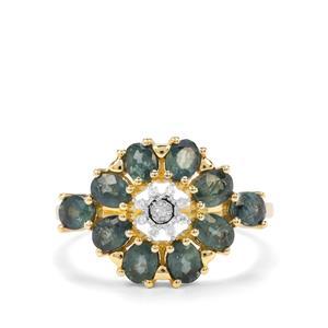 Natural Nigerian Blue Sapphire & Diamond 9K Gold Ring ATGW 2.17cts