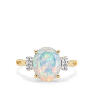 Kelayi Opal & White Zircon 9K Gold Ring ATGW 1.97cts