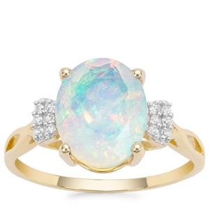 Kelayi Opal Ring with White Zircon in 9K Gold 1.97cts