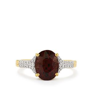 Color Change Garnet Ring with Diamond in 18k Gold 4.34cts
