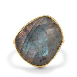 Paul Island Labradorite Ring in Gold Plated Sterling Silver 16.95cts