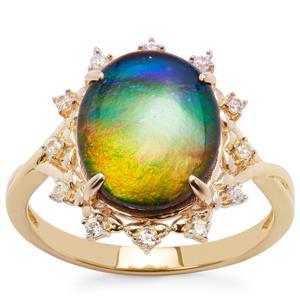 AA Ammolite & White Zircon 9K Gold Ring