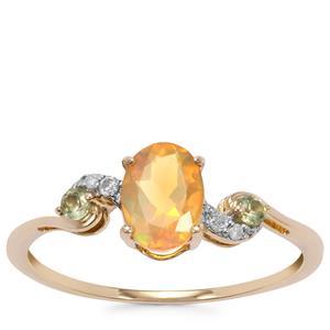 Ethiopian Opal, Pakistani Peridot Ring with Diamond in 9K Gold 0.58cts