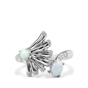 Larimar & White Zircon Sterling Silver Ring ATGW 0.97cts