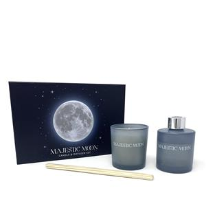 Gem Auras Majestic Moon -  Candle & Reed Diffuser Set with White Jade 60cts