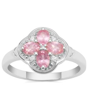 Pink Spinel Ring with White Zircon in Sterling Silver 0.77ct