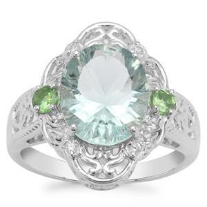 Tucson Green Fluorite, Tsavorite Garnet Ring with White Zircon in Sterling Silver 4.27cts