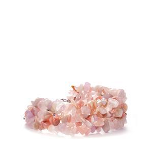 Rose Quartz, Kunzite & Pink Opal Sterling Silver Bracelet ATGW 217.86cts