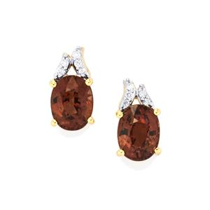 Bekily Colour Change Garnet Earrings with Diamond in 18K Gold 3.16cts