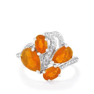 AA Orange American Fire Opal & White Topaz Sterling Silver Ring ATGW 2.26cts