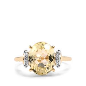 Canary Kunzite & Diamond 9K Gold Ring ATGW 4.80cts