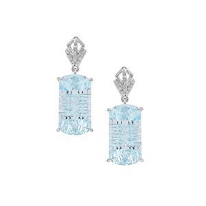 Lehrer Matrix Cut Sky Blue Topaz Earrings with Diamond in 9K White Gold 29.45cts
