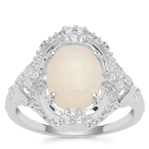 Coober Pedy Opal Ring with White Zircon in Sterling Silver 1.58cts