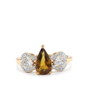 Ambilobe Sphene Ring with Diamond in 18k Gold 1.53cts