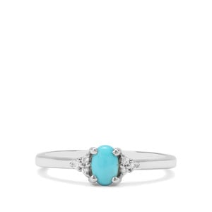 Sleeping Beauty Turquoise & White Zircon Sterling Silver Ring ATGW 0.43cts