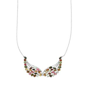 Rainbow Tourmaline Necklace in Sterling Silver 8cts