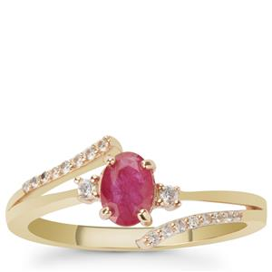 Montepuez Ruby Ring with White Zircon in 9K Gold 0.70ct