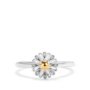 Daisy Two Tone Sterling Silver Ring 2.55g